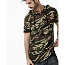 cheap Wedding Shoes-Men's Street chic Plus Size Cotton T-shirt - Camouflage Hooded