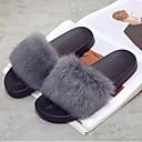 olcso Női házicipők és papucsok-Női Cipő Bunda Ősz / Tél Kényelmes / Fur Bélés Papucs és papuc Lapos Lábujj nélküli Szürke / Zöld / Bor