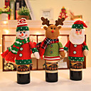 cheap Artificial Flower-2019 New Year Xmas Table Red Wine Bottle Cover Bags Hat Belt Dress Santa Claus/Snowman Doll Home Christmas Party Decoration