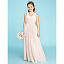 cheap Speakers-A-Line / Princess Strap Floor Length Chiffon / Lace Junior Bridesmaid Dress with Ruched / Side-Draped by LAN TING BRIDE® / Wedding Party