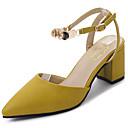 baratos Sandálias Femininas-Mulheres Sapatos Couro Ecológico Verão Conforto Sandálias Salto Robusto Dedo Apontado Lantejoulas Bege / Amarelo / Sandálias de calcanhar