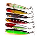 cheap Fishing Lures & Flies-6 pcs Fishing Lures Popper Hard Bait Plastic ABS Sea Fishing Trolling & Boat Fishing Lure Fishing