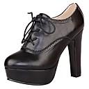 preiswerte Damen Stiefel-Damen Schuhe PU Frühling / Sommer Pumps / Modische Stiefel Stiefel Blockabsatz / Plattform Spitze Zehe Schnürsenkel Schwarz / Braun /