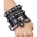 cheap Men's Bracelets-Men's Rivet Chain Bracelet Leather Bracelet - Leather Heart, Button Rock, Fashion Bracelet Jewelry Black / Brown For Stage Club