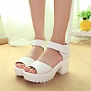 cheap Women's Sandals-Women's Shoes PU Summer Comfort Sandals Chunky Heel Open Toe for Casual White Black