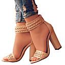 baratos Sandálias Femininas-Mulheres Sapatos Couro Ecológico Primavera / Verão Conforto / Inovador Sandálias Dedo Aberto Ziper Preto / Bege / Casamento