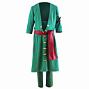 cheap Anime Cosplay Swords-Inspired by One Piece Roronoa Zoro Anime Cosplay Costumes Cosplay Suits Solid Colored Coat / Pants For Men's