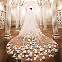 cheap Party Headpieces-Two-tier Wedding Veil Cathedral Veils with Appliques Lace / Tulle / Angel cut / Waterfall