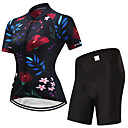 cheap Men's Slip-ons & Loafers-FUALRNY® Women's Short Sleeve Cycling Jersey with Shorts - Black Bike Clothing Suits, Quick Dry Lycra