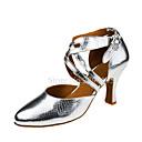 olcso Divat nyaklánc-Női Latin cipők Bőr Szandál Csat / Cakkos Kubai sarok Személyre szabható Dance Shoes Ezüst / Teljesítmény