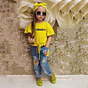 levne Sady oblečení-Toddler Dívčí Jednobarevné Krátký rukáv Standardní Standardní Bavlna Sady oblečení Žlutá