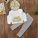 cheap Girls' Clothing Sets-Girls' Stripe Embroidered Clothing Set, Cotton Polyester Spring Fall Long Sleeves Dresswear Stripes White
