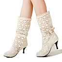 cheap Women's Boots-Women's Shoes Lace Fall / Winter Comfort / Novelty / Fashion Boots Boots Pointed Toe Mid-Calf Boots Bowknot White / Black / Brown