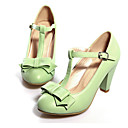 cheap Women's Heels-Women's Shoes PU(Polyurethane) Spring / Fall Comfort / Novelty Heels Round Toe Bowknot / Buckle Beige / Green / Pink / Party & Evening