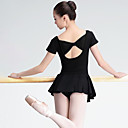 baratos Dance Boots-Balé Mulheres Espetáculo Elastano Manga Curta Natural Vestido