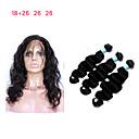 olcso Természetes színű póthajak-3 csomópont bezárásával Maláj haj Hullámos haj Remy haj Emberi haj sző 8a Human Hair Extensions