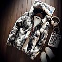 cheap Men's Slip-ons & Loafers-Men's Street chic Faux Fur Fur Coat-Color Block Hooded