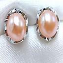 cheap Earrings-Women's Pearl Stud Earrings / Drop Earrings - Pink Pearl, Gray Pearl Simple Style, Fashion Gray / Purple / Pink For Daily / Office & Career