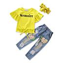 זול סטים של ביגוד לבנות-סט של בגדים כותנה אביב סתיו שרוולים קצרים אחיד בנות צהוב