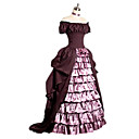 baratos Fantasias do Mundo Antigo-Rococó Vitoriano Vestido plissado Ocasiões Especiais Mulheres Vestidos Rosa claro Vintage Cosplay Manga Curta Concha Ombro a Ombro Longo