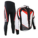 cheap Cycling Jersey & Shorts / Pants Sets-Arsuxeo Men's Long Sleeve Cycling Jersey with Tights - Black / Red Bike Clothing Suit, Breathable, 3D Pad, Thermal / Warm, Quick Dry Polyester, Spandex, Silicon Patchwork / Stretchy