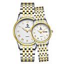 cheap Night Lights-Men's Women's Wrist Watch Japanese Quartz 30 m Calendar / date / day Stainless Steel Band Analog Fashion Black / Gold / Rose Gold - Black / Silver Gold / Silver / White Gold / Silver / Black