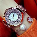 billige Trendy klokker-Dame Armbåndsur Japansk Hverdagsklokke Rustfritt stål Band Sjarm / Mote Sølv / Gylden / Rose Gull