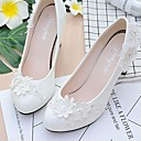 cheap Women's Sandals-Women's Shoes Lace / Leatherette Spring / Fall Comfort Wedding Shoes Round Toe Rhinestone / Imitation Pearl / Appliques White
