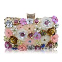 cheap Clutches & Evening Bags-Women's Bags Polyester Evening Bag Crystals / Pearls / Flower Light Gold