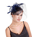 cheap Party Headpieces-Tulle / Feathers / Net Fascinators / Flowers / Headpiece with 1 Wedding / Party / Evening Headpiece