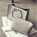 baratos Conjunto de Bolsas-Mulheres Bolsas PU Conjuntos de saco 2 Pcs Purse Set Ziper Preto / Cinzento