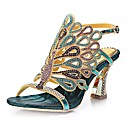 cheap Men's Bracelets-Women's Shoes Polyurethane Spring / Summer Fashion Boots Sandals Open Toe Rhinestone / Crystal / Sparkling Glitter Silver / Red / Blue