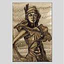 tanie Wydruki na rozciągniętym płótnie-Hang-Malowane obraz olejny Ręcznie malowane - Ludzie Nowoczesny Brezentowy / Rozciągnięte płótno