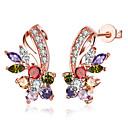 tanie Zestawy biżuterii-Damskie Cyrkonia Kolczyki sztyfty - Cyrkonia, Pokryte różowym złotem Kwiat Biały / Tęczowy Na Impreza / Casual