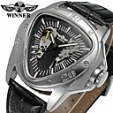 cheap Dress Watches-WINNER Men's Mechanical Watch Hollow Engraving / Cool Leather Band Casual Black / Automatic self-winding