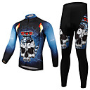 cheap Cycling Jersey & Shorts / Pants Sets-Men's Long Sleeves Cycling Jersey with Tights - Bule/Black Bike Clothing Suits, Quick Dry