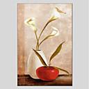 preiswerte Florale/Botansiche Gemälde-Hang-Ölgemälde Handgemalte - Stillleben Zeitgenössisch Segeltuch