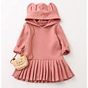 זול שמלות לבנות-שמלה כותנה סתיו שרוול ארוך יומי ליציאה אחיד הילדה של יום יומי ורוד מסמיק