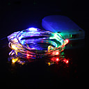billige LED-kædelys-hkv® 1m multicolor led string lys batteri led kobber wire fairy ferie lys christmas weeding fest dekoration