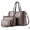 povoljno Komplet torbi-Žene Patent-zatvarač PU Bag Setovi Kompleti za vrećice 3 kom Crn / Lila-roza / Srebro / Jesen zima