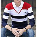 tanie Oświetlenie sceniczne-T-shirt Męskie Moda miejska Bawełna W serek Kolorowy blok / Długi rękaw