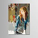 preiswerte Stillleben Gemälde-Hang-Ölgemälde Handgemalte - Menschen Modern Segeltuch