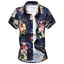 cheap Men's Slippers & Flip-Flops-Men's Chinoiserie Plus Size Cotton Shirt - Floral