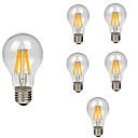 billige LED-lyspærer-6pcs 8W 760lm E26 / E27 LED-glødepærer A60(A19) 8 LED perler COB Dekorativ Varm hvit Kjølig hvit 220-240V