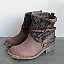 baratos Botas Femininas-Mulheres Sapatos Couro Ecológico Primavera / Inverno Conforto / Inovador / Botas da Moda Botas Ponta Redonda Botas Curtas / Ankle Preto /