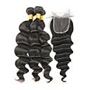tanie Dopinki w naturalnych kolorach-4 zestawy Włosy indyjskie Luźne fale Włosy naturalne remy Fale w naturalnym kolorze Ludzkie włosy wyplata Ludzkich włosów rozszerzeniach