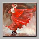 olcso Portrék-Hang festett olajfestmény Kézzel festett - Emberek Modern Vászon / Hengerelt vászon