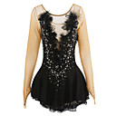 cheap Human Hair Wigs-Figure Skating Dress Women's / Girls' Ice Skating Dress Black Spandex, Lace Rhinestone / Appliques / Feathers / Fur High Elasticity