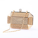 זול תיקי ערב וקלאצ'ים-בגדי ריקוד נשים שקיות מתכת תיק ערב כפתורים זהב