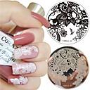 baratos Carimbos para Unhas-1pc nail art stamp template laço arabesque flor design 5.5cm rodada imagem prato